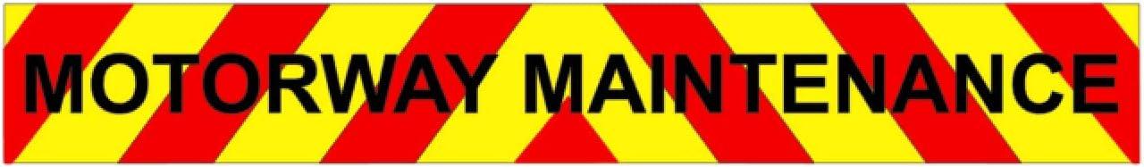 Motorway Highway Maintenance Magnet Long Magnetic Sign Highway Highways Road Works Transit Tipper low loader Digger Dumper Motorway Chevron Package KIT 620x90mm Highway Maintenance