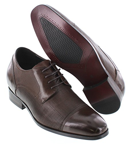 Calto Y40551-3.2 Inches Taller - Height Increasing Elevator Shoes - Bruine Leren Veterschoenen Met Veters