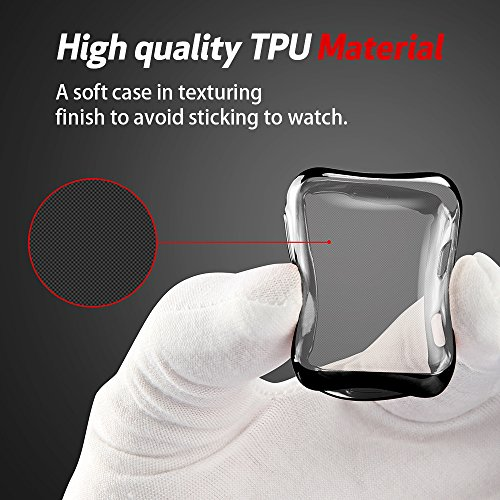 Smiling Apple Watch 3 Case with Built in TPU Screen Protector All-Around Protective Case High Definition Clear Ultra-Thin Cover for Apple iwatch Series 3 and Series 2 (42mm Black) by Smiling (Image #4)
