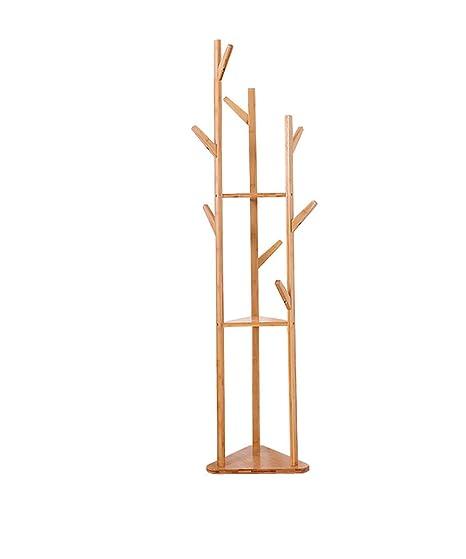 Amazon.com: ZEMIN - Perchero de pie de madera maciza, color ...