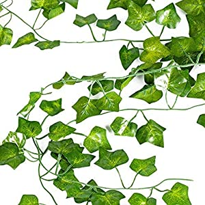 Artificial Ivy Vine Garland Leaf 12 Pack (82 inch Each) Christmas Decoration Fake Greenery Hanging Plants Wedding Garden Outdoor Wall Decoration LUCKYLIFE 2