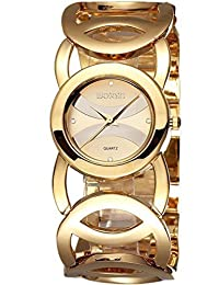 Lovely Pretty Hand Women's Luxury Gold-tone Crystal-accented Bracelet Watch