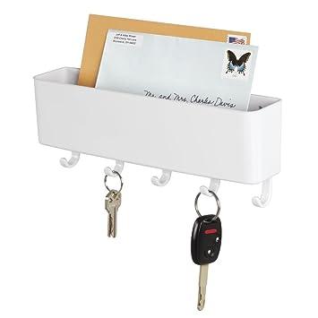 mDesign Schlüsselbrett mit Ablage – wandmontierte Schlüsselleiste ...