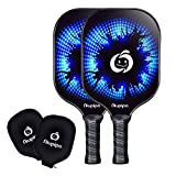 Picleball Paddles - USAPA Proved, 2 Graphite Pickleball Raquets, Honeycomb Composite Core, Picleball Graphite Paddle with Edge Guard Ultra Cushion, Lightweight 8oz 4.5in Grip with 2 Cover