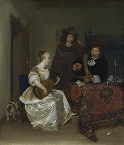 'Gerard Ter Borch A Woman Playing A Theorbo To Two Men ' (Series 2 Leg Magazine Base)