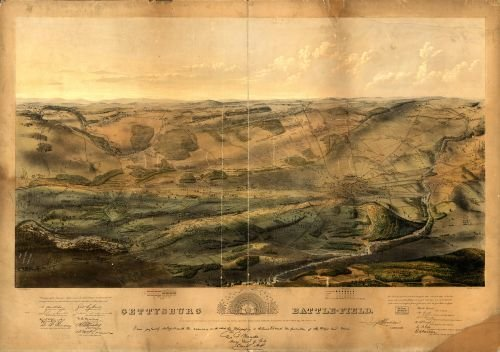 (1863 Map Gettysburg Battle-Field. Battle Fought at Gettysburg, Pa, July 1st, 2D & 3D, 1863 by The F )