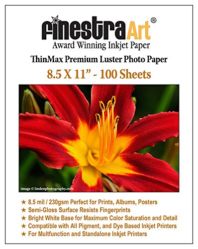 Finestra Art 8.5x11 Premium Luster Inkjet Photo Paper - 100 Sheets 8.5mil (Satin Paper Inkjet)