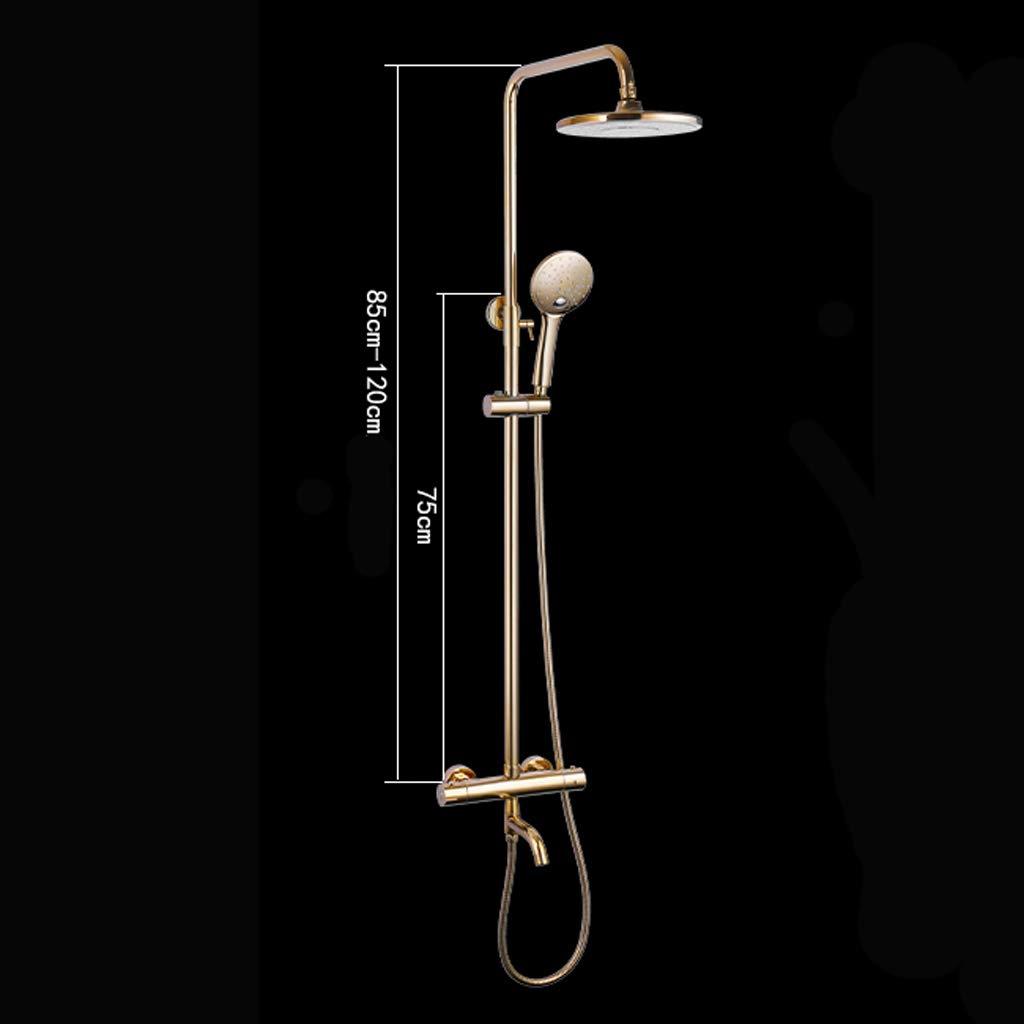 barre coulissante r/églable douche /à main /à 3 fonctions Creative Light- Syst/ème de douche thermostatique dor/ée fini chrome poli avec pomme de douche /à effet pluie de 8 po