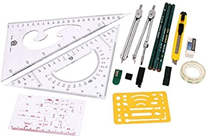 Mapper mecánica Instrumentos de dibujo Brújula Plotter set 16 en 1 ...
