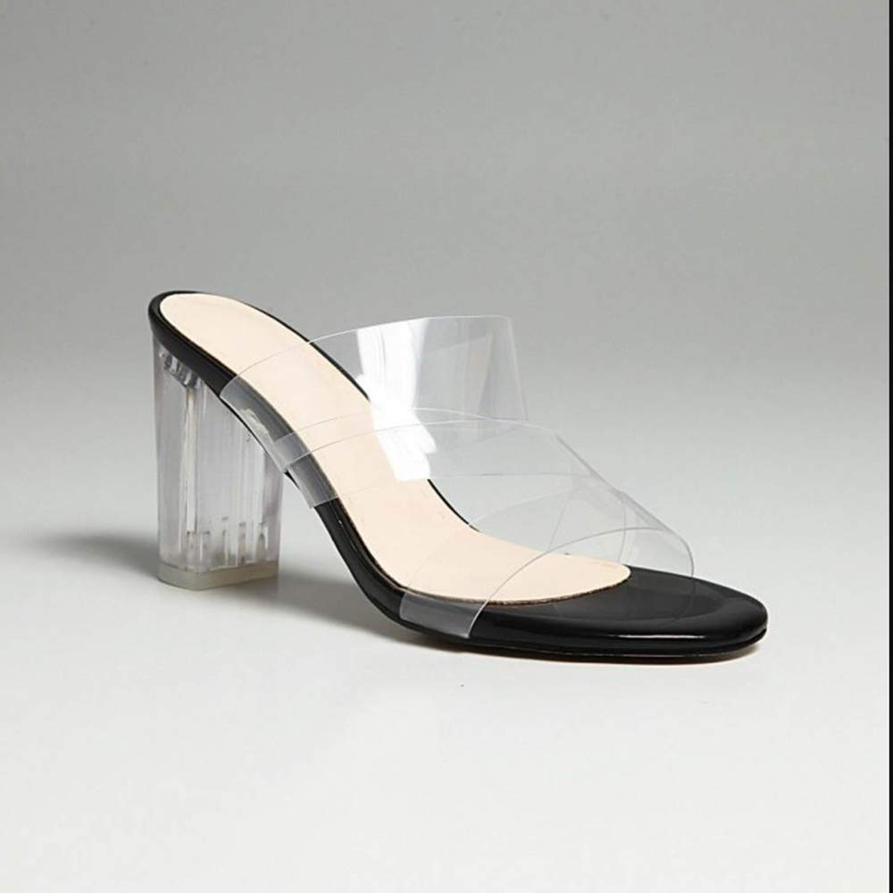 CularAcci Women Transparent Sandals Block Heel
