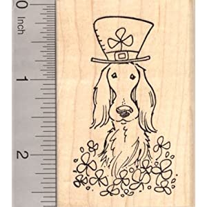 St. Patrick's Day Irish Setter Dog in Shamrocks Rubber Stamp 1
