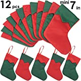 Ivenf 12 Pack 7'' Twill Mini Christmas Stockings Gift Card Bags Holders, Bulk Personalized Holiday Treats for Neighbors Coworkers Kids Cats Dogs, Small Rustic Felt Red Xmas Tree Decorations Set