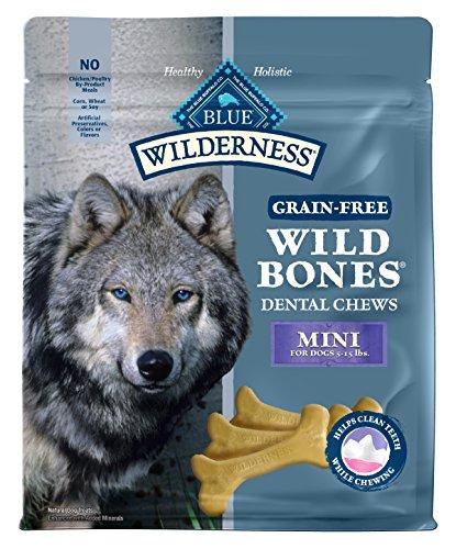 (Blue Buffalo Wilderness Wild Bones Mini Dental Chews Grain-Free Dog Treats, 27-Oz Bag)