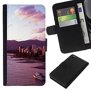 KingStore / Leather Etui en cuir / HTC DESIRE 816 / Playa Costa Yate Sky View;