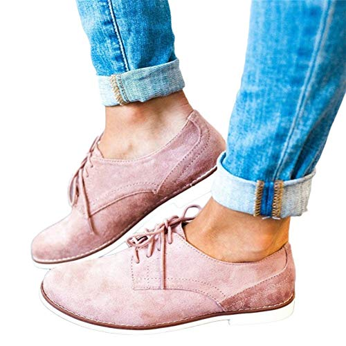 Women Vintage Lace up Flock Single Shoes Classic Flat Shoes by Lowprofile -