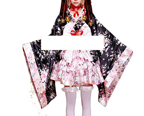 Ablaze Jin Halloween Children Costume Short Anime ckimono Lolita Costume Gothic Halloween Dress Plus Size,Pink,L]()