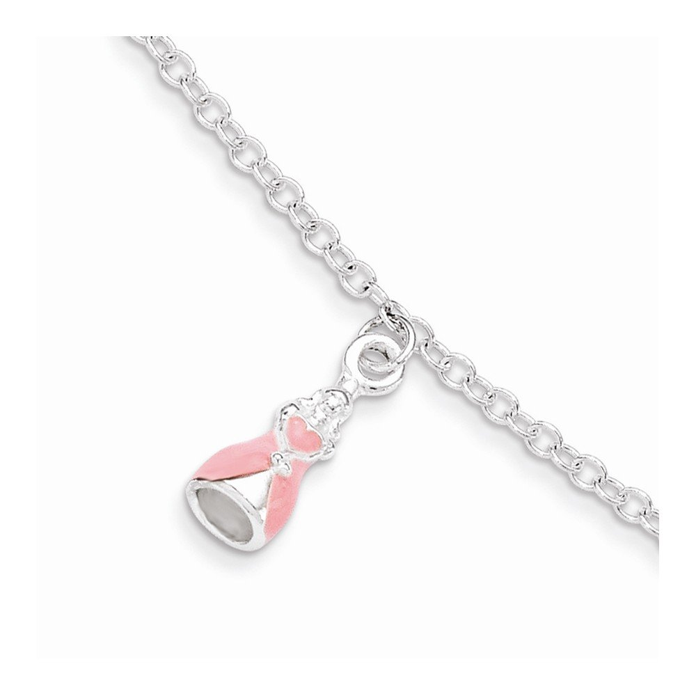 .925 Sterling Silver Childrens Enameled with 1.5 inch Extension Princess Bracelet 5.50 inches