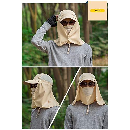 quanjucheer Capuchon de pêche, Protection UV extérieur pour Le Visage, Le Cou, la tête et la visière 3