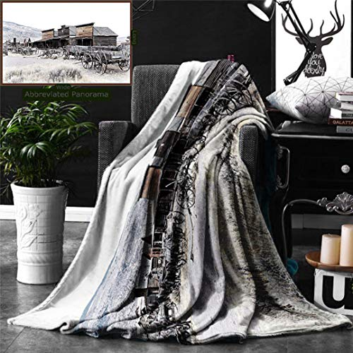 Unique Custom Digital Print Flannel Blankets Western Decor Old Wooden Wagons From 20S In Ghost Town Antique Wyoming Wheels Art Prin Super Soft Blanketry for Bed Couch, Twin Size 80 - Wagon Weatherstrip