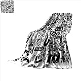 smallbeefly Doodle Digital Printing Blanket Music Collection with an Abstract Drawing Rock Jazz Blues Metal Classic Dancing Summer Quilt Comforter 60''x36'' Black White