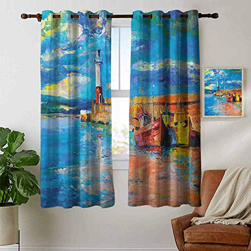 petpany Room Darkening Wide Curtains Art,Oil Painting Tones Style Lighthouse and Boats on Sea Shore Town Coastal Charm Picture, Multicolor,Light Blocking Drapes with Liner 42