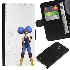 ZCell / Samsung Galaxy S4 Mini i9190 / Sketch Artist Superhero White Blue / Caso Shell Armor Funda Case Cover Wallet / Sketch artista Superh&eac