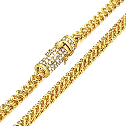 Gold Tone Jewelry Box - Davieslee Mens Necklace Chain Miami Franco Box Link 316L Stainless Steel Iced Out Paved Cubic Zirconia CZ Gold Tone 6mm Hip Hop