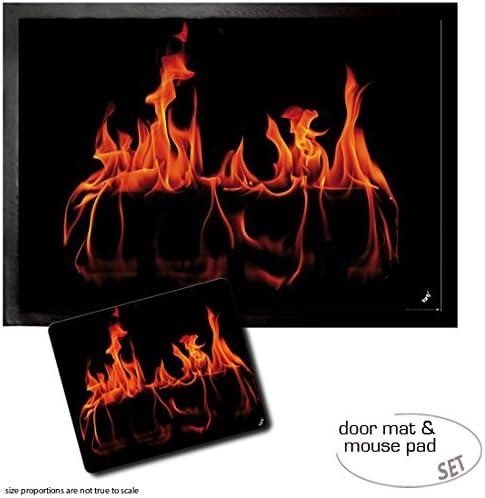 1art1 Fires, Warm Fireplace Door Mat Design Floor Mat 28×20 cm Mouse Pad 9×7 inches Gift Set