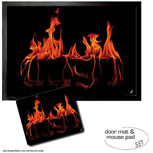 Cheap Set: 1 Door Mat Floor Mat (28×20 inches) + 1 Mouse Pad (9×7 inches) – Fires, Warm Fireplace