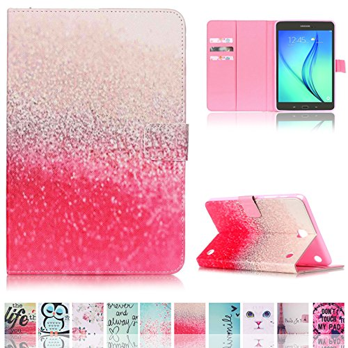 Galaxy Tab A 8.0 Tablet Case SM-T350/T355, UUcovers Synthetic Leather TPU Back Cover with Card Slot Magnetic Smart Wallet [Auto Sleep/Wake] for Samsung Galaxy Tab A 8.0 (T350/T355), Pink Flowers Sea (Samsung Galaxy S2 Bling Case)
