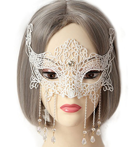 Women Girl Sexy Venetian Lace Eyemask Pendant Eye Mask for Halloween Masquerade Party Ball Prom Costume White