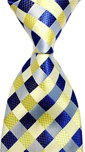 Scott Alone : New Classic Yellow Dark Blue Gray 100% New Jacquard Woven Silk Men's Tie Necktie from Scott Alone