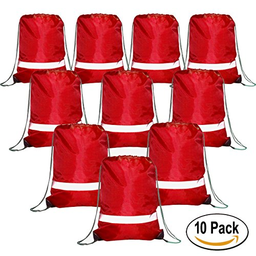 Drawstring Backpack Bags Reflective 10 Pack, Promotional Sport Gym Sack Cinch Bag (Back Then Halloween Stories)