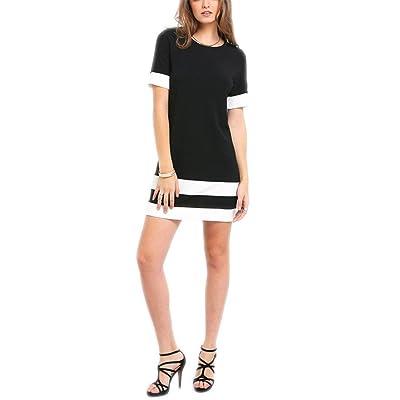 YRUS Color Block Casual Mini Style Black White Stitching Round Neck Short Sleeve Transform Dress