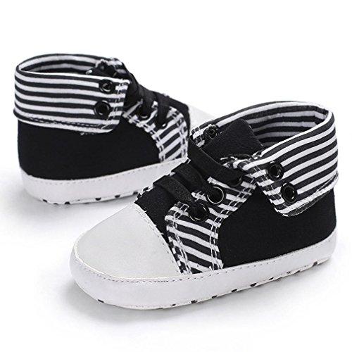 Clode® Schöne Kleinkind Streifen Erste Wanderer Babyschuhe Runde Kappe Wohnungen Soft Slipper Schuhe Schwarz