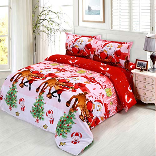 Oliven 4Pcs 3D Christmas Bedding Set Twin Size Cartoon Santa Claus Duvet Cover Flat Sheet Pillowcases-Red Christmas Decor