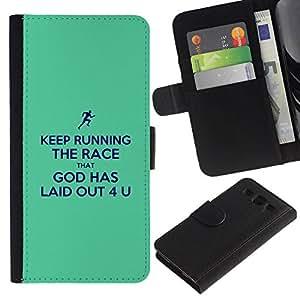 All Phone Most Case / Oferta Especial Cáscara Funda de cuero Monedero Cubierta de proteccion Caso / Wallet Case for Samsung Galaxy S3 III I9300 // BIBLE Keep Running The Race