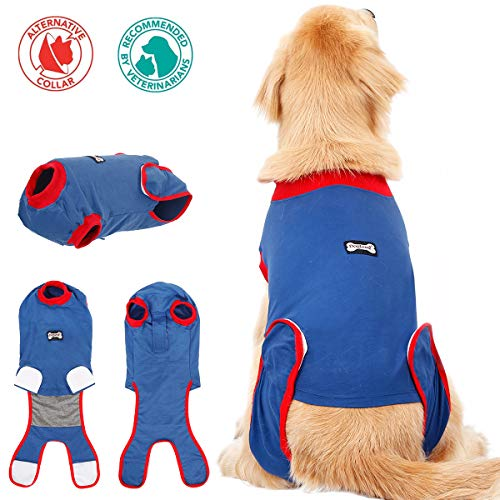 FOREYY Dog Professional Recovery Suit Abdominal Wound Protector Puppy Medical Surgical Clothes Post-Operative Vest Pet After Surgery Wear E-Collar & Cone Alternative (L)