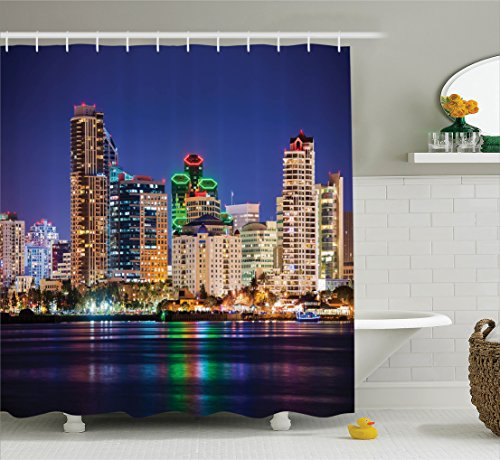 Ambesonne Apartment Decor Collection, Colorful Skyline San Diego at Night North San Diego Bay Boats Architecture Urban Picture, Polyester Fabric Bathroom Shower Curtain Set with Hooks, (Party City Bay Plaza)