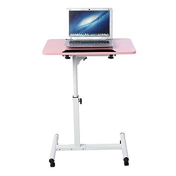 Cocoarm Mesa de Ordenador Portatil con Ruedas, Escritorio para Laptop con Enfriador Ventiladores Altura Ajustable 64-88cm (Rosa): Amazon.es: Hogar