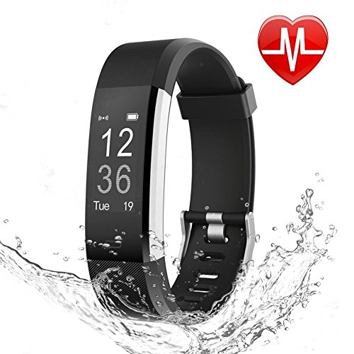 LETSCOM Fitness Tracker HR, Heart Rate Monitor Watch, IP67 Waterproof Activity Tracker with Step Counter and Sleep Monitor, Pedometer Watch, Smart Wristband for Kids Women and Men (Best Activity Tracker For Sleep)