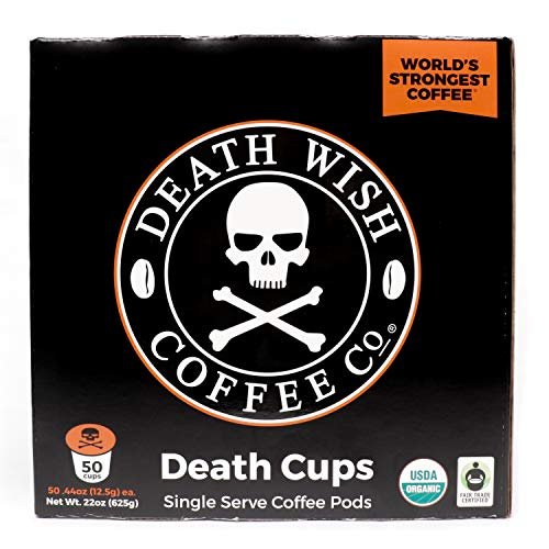 Death Wish Single Serve Coffee Pods for K-Cup Style 2.0 Brewers, USDA Certified Organic & Fair Trade (50 Count Bulk Value)