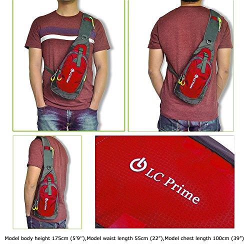 LC PrimeSling Bag Chest Shoulder Unbalance Gym Fanny Backpack Sack Satchel Outdoor Bike nylon fabric red 1