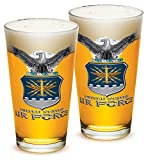 Cheap Pint Glasses – USAF American Hero's Gifts for Men or Women – Air Force USAF Missle Beer Glassware – Armed Forces Beer Glass with Logo – Set of 2 (16 Oz)