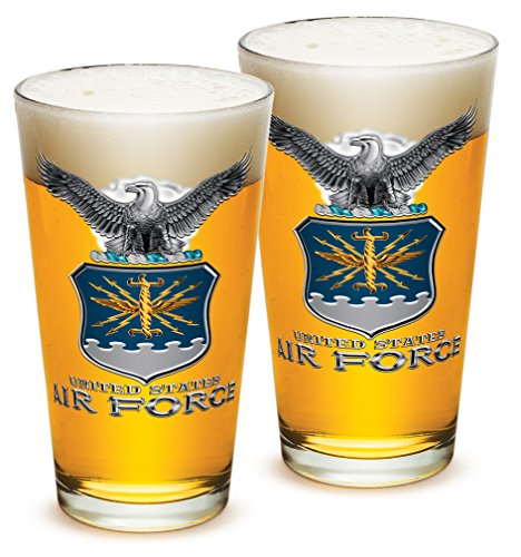 [Pint Glasses – USAF American Hero's Gifts for Men or Women – Air Force USAF Missle Beer Glassware – Armed Forces Beer Glass with Logo - Set of 2 (16 Oz)] (Air Force Birthday)