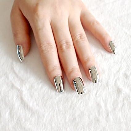 24 piezas de uñas de acrílico metálico con superficie de espejo, uñas postizas de tamaño