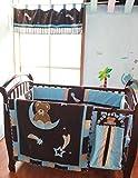 Nursery Crib Bedding Set Brown Blue Bear Moon Star Collection Baby Bedding 13 Pieces Set Baby Boy Gift Idea