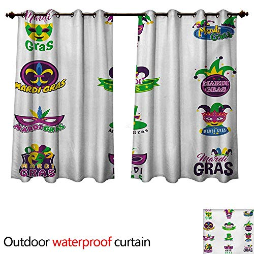 - WilliamsDecor Mardi Gras Outdoor Ultraviolet Protective Curtains Graphic Carnival Masks Hats and Fleur De Lis Symbols Colorful Joyous Event Theme W55 x L45(140cm x 115cm)