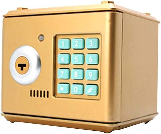 Huermei - Contraseña electrónica de dibujos animados - Cerradura de contraseña de llave grande / caja de monedas plateadas / juguete educativo para niños regalo 13,2 x 12,5 x 12,5 cm, dorado, 13.2*12.5*12.5cm: Amazon.es: Hogar