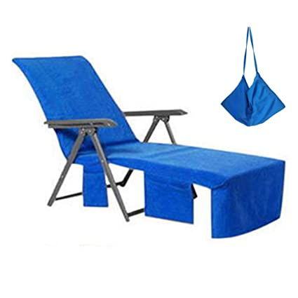 WiseHome Chaise Lounge Pool Chair Cover Beach Towel Fitted Elastic Pocket  Wonu0027t Slide Blue